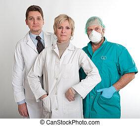 hospitalar, trabalhando, equipe