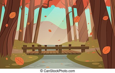 Small wooden bridge in the woods - Cartoon illustration of...