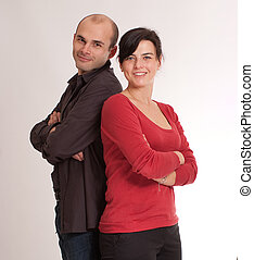 Great team - Portrait of a woman and a man ready for work