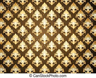 Background with gold Fleur de Lis - dark brown background...