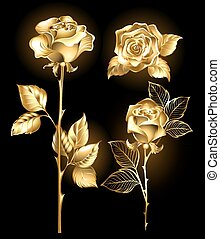 Set of golden roses - Set of gold, shining roses on a black...