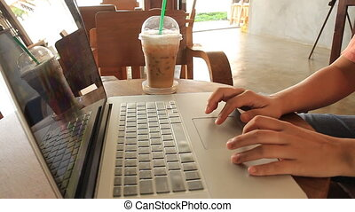 Freelance Serving Internet At Espresso Shop, stock footage