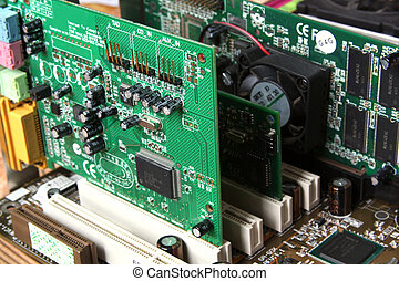 Computer Hardware Motherboard with video card, sound card