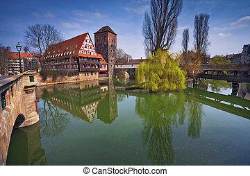 Nuremberg, Germany. - Image of the Nuremberg old town during...