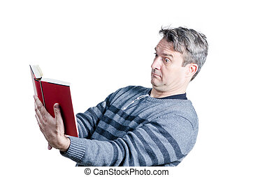 Presbyopia - Guy finding holding a book at quite a distance...