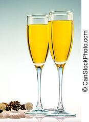 Glasses of champagne to celebrate the new year