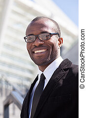 happy black businessman portrait