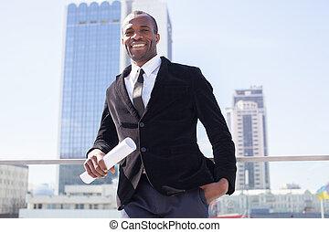 estate agent portrait on skyscrapers background