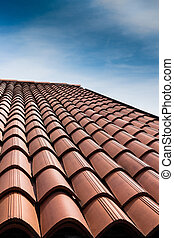 Tiled roof - Vertical view of a tiled roof brown.