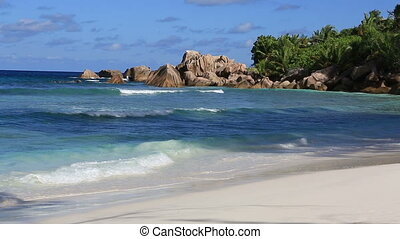Beautiful beach Anse Cocos. Time Lapse - Beautiful beach...