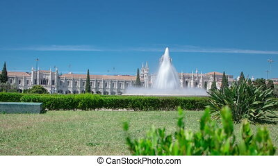 The Jeronimos Monastery or Hieronymites Monastery with lawn...