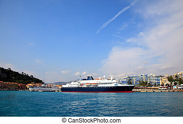 a cruise ship at harbor in the city of Nice  France