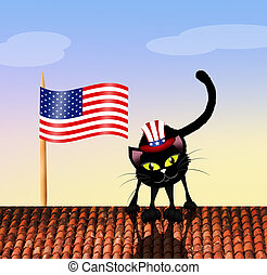 cat on Independence Day - illustration of cat on...