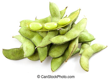 soy bean - boiled green soy beans, vietnamese beans on white...
