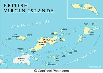 British Virgin Islands Political Map, a british overseas...