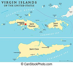 United States Virgin Islands Political Map. A group of...