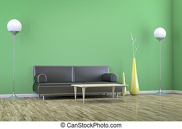 green room with a sofa