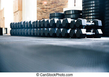 Fitness gym - Closeup image of a fitness gym with dumbbells