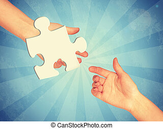 Game piece of puzzle. Abstract light blue background