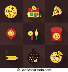 pizza icons - vector itallian pizza icons flat style vintage...