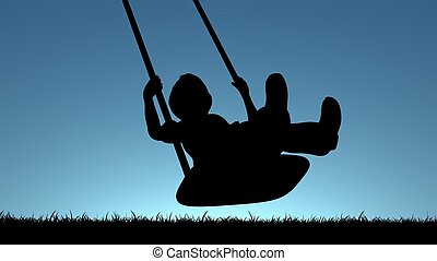 Child on Swing - Illustration of a young child playing on a...