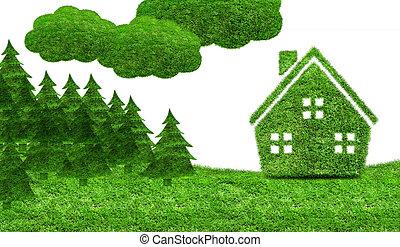 verde, pasto o césped, casa, y, árboles,