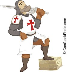 crusader - Illustration of the Crusader with sword in hand