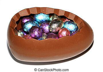 Chocolate eggs at Easter - Big chocolate egg filled with...