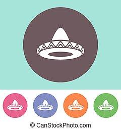 Vector sombrero icon - Single vector sombrero icon on round...