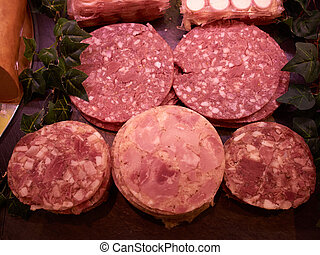 Selection of freshly cut salami