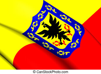 Flag of Bogota, Colombia. Close Up.