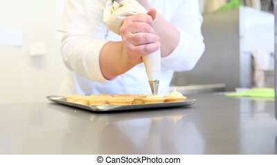 hands pastry prepare fruit sweets - hands pastry prepare...