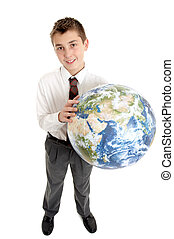 School student holding the world in his hands