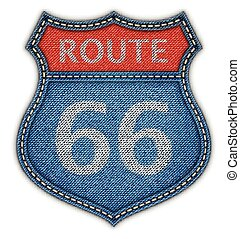 Route 66 Road Sign - Route 66 Road Denim Sign.Vector...