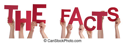 People Hands Holding Red Word The Facts - Many Caucasian...