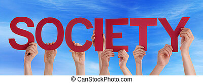Many People Hands Holding Red Straight Word Society Blue Sky...