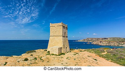 tower in Malta - typical watchtower military purposes on the...