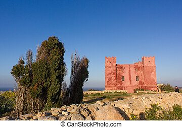 Red tower Malta - typical watchtower military purposes on...