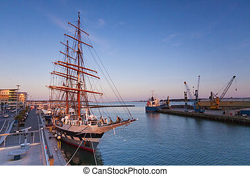 Tall ship moored at Poole Quay - A tall ship on Poole Quay...