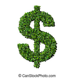Dollar made from green leaves - Beautiful graphics made with...