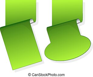 Green sticker with curled up edge. - Turquoise sticker with...