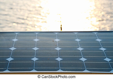 Solar cell installed on the stand for producing the energy...