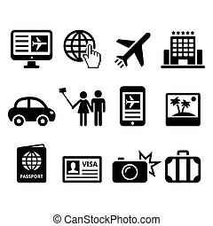 Travel and tourism, booking holiday - Vector icons set...