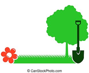 garden background with tree, shovel - garden background with...