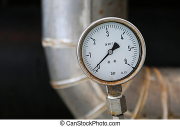 Pressure gauge on oil and gas process for monitored...