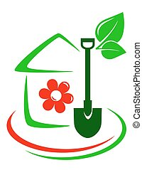 green garden icon with house, flower, shovel and decorative...
