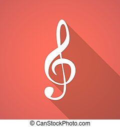 Long shadow g clef - Illustration of a long shadow g clef
