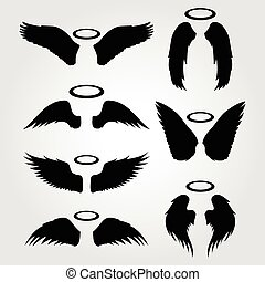 wings vector icon set  on a light background