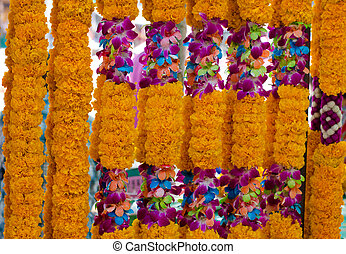 Background of flower garlands in thai style. Thailand -...