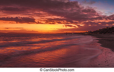 Bournemouth Beach at Sunset - Red-sky sunset facing east...
